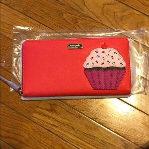 Kate Spade red cupcake leather wallet